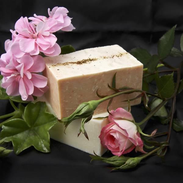 Olive & Ash Damask Rose, Rose Geranium & Paprika Olive Oil Soap